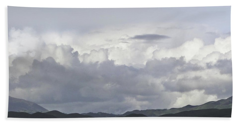 Landscape Beach Towel featuring the photograph Clouds by Karen W Meyer