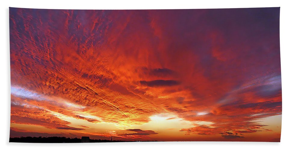 Clouds Beach Towel featuring the photograph Clouds On Fire by Kendall Eutemey