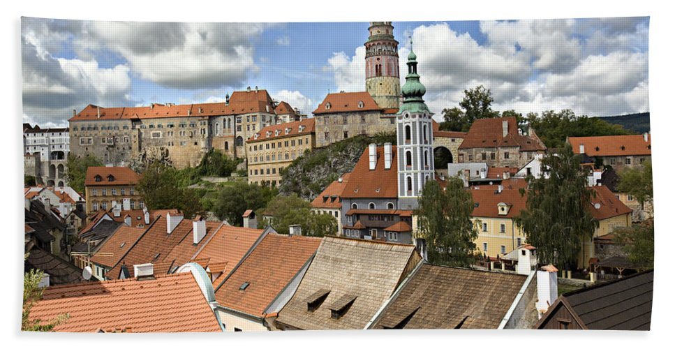 Cesky Krumlov Beach Towel featuring the photograph Clouds Over Cesky Krumlov by Madeline Ellis