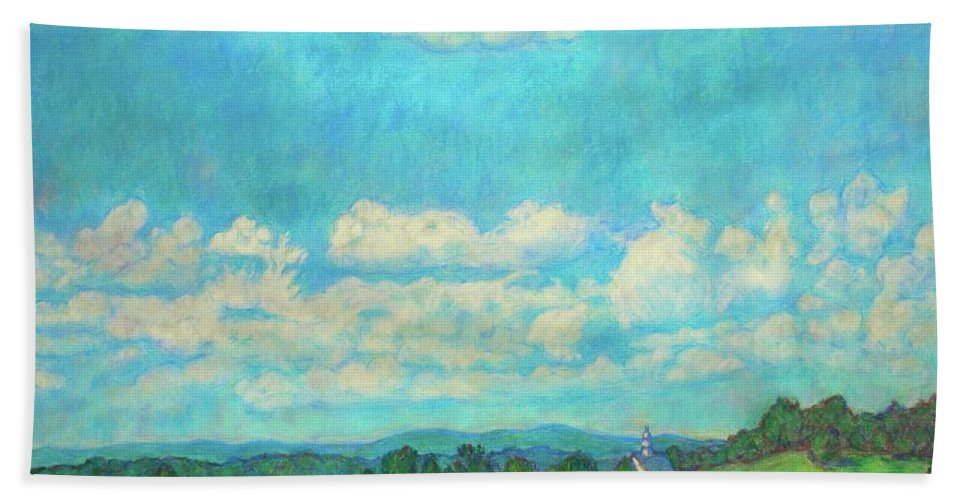 Landscape Beach Towel featuring the painting Clouds Over Fairlawn by Kendall Kessler