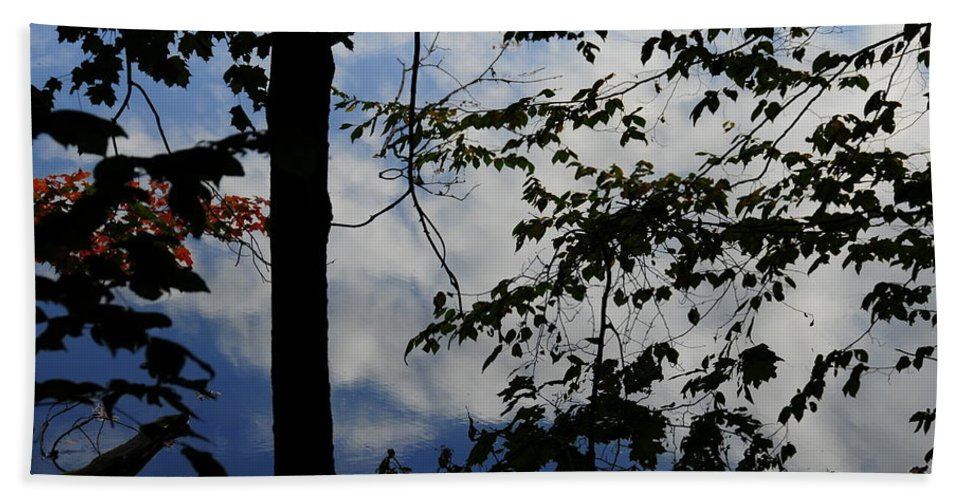 Water Beach Towel featuring the photograph Clouds Tree Water by David Arment