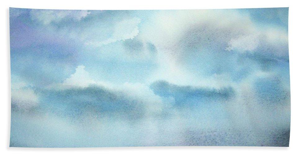 Clouds Beach Towel featuring the painting Cloudscape by Ellen Levinson