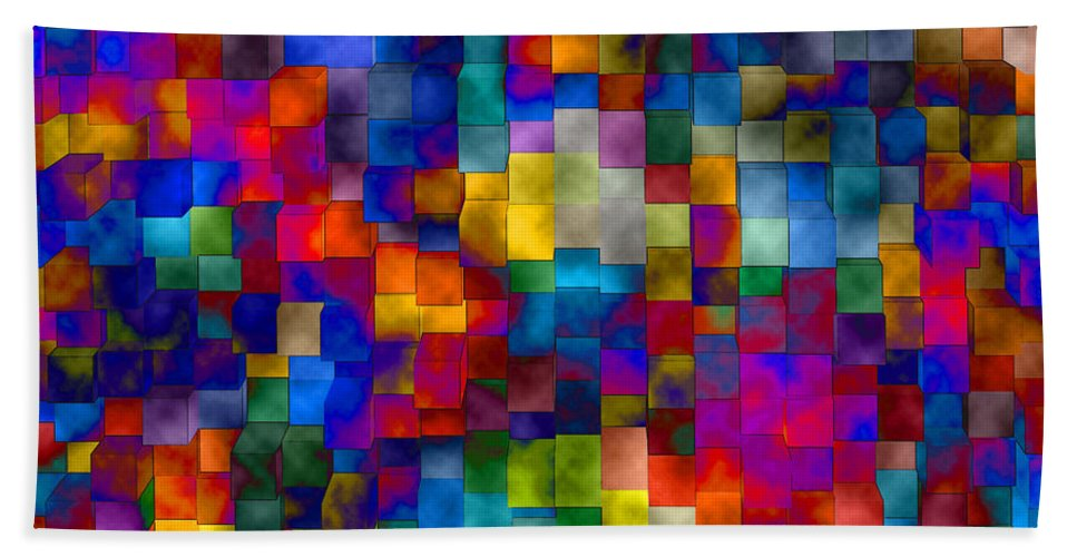 Abstract Beach Towel featuring the digital art Cloudy Cubes by Ruth Palmer