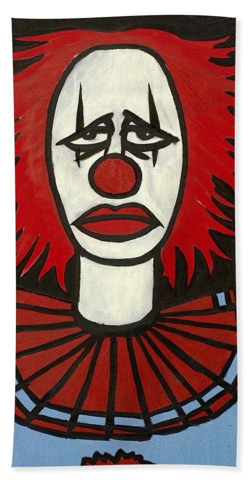 Clay Beach Towel featuring the painting Clown by Thomas Valentine