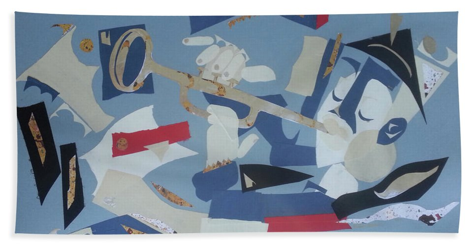 Beach Towel featuring the mixed media Clown Trumpet by Marcus Alleyne
