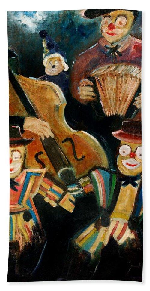 Clowns Circus Beach Sheet featuring the print Clowns by Pol Ledent