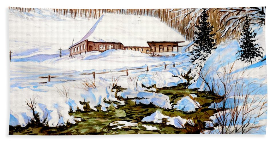Winter Beach Towel featuring the painting Clubhouse In Winter by Sher Nasser