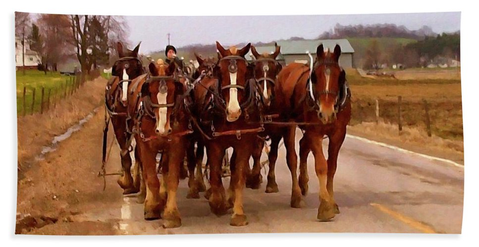 Clydesdale Horse Beach Towel featuring the digital art Clydesdale Amish Plow Team by Chris Flees