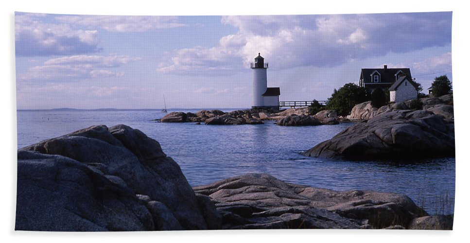 Landscape Lighthouse New England Annisquam Harbor Light Gloucester Beach Towel featuring the photograph Cnrf0903 by Henry Butz