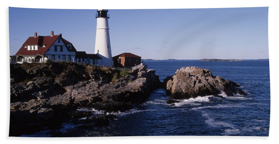 Landscape New England Lighthouse Nautical Coast Beach Towel featuring the photograph Cnrf0910 by Henry Butz
