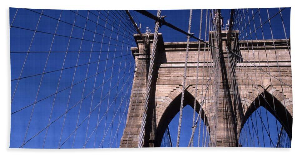 Landscape Brooklyn Bridge New York City Beach Towel featuring the photograph Cnrg0406 by Henry Butz