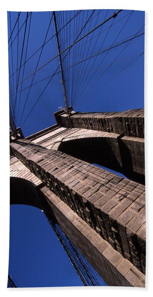 Landscape Brooklyn Bridge New York City Beach Towel featuring the photograph Cnrg0408 by Henry Butz
