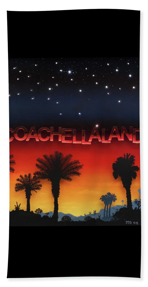 Land/skyscape Beach Towel featuring the painting Coachellaland by Jon Carroll Otterson