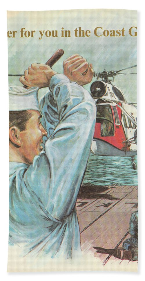 Coast Guard Beach Towel featuring the painting Coast Guard Career by Jerry McElroy