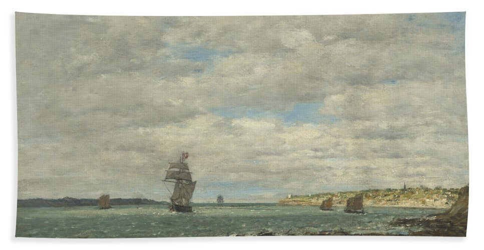 Beach Towel featuring the painting Coast Of Brittany by Eug?ne Boudin