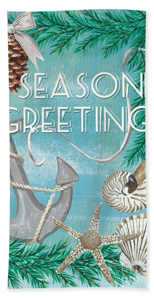 Anchor Beach Towel featuring the painting Coastal Christmas Card by Debbie DeWitt