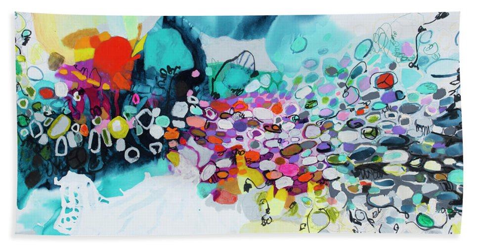 Abstract Beach Towel featuring the painting Cobblestones Of San Miguel by Claire Desjardins