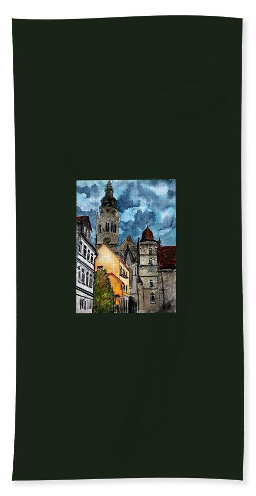 Germany Beach Towel featuring the painting Coburg Germany Castle Painting Art Print by Derek Mccrea