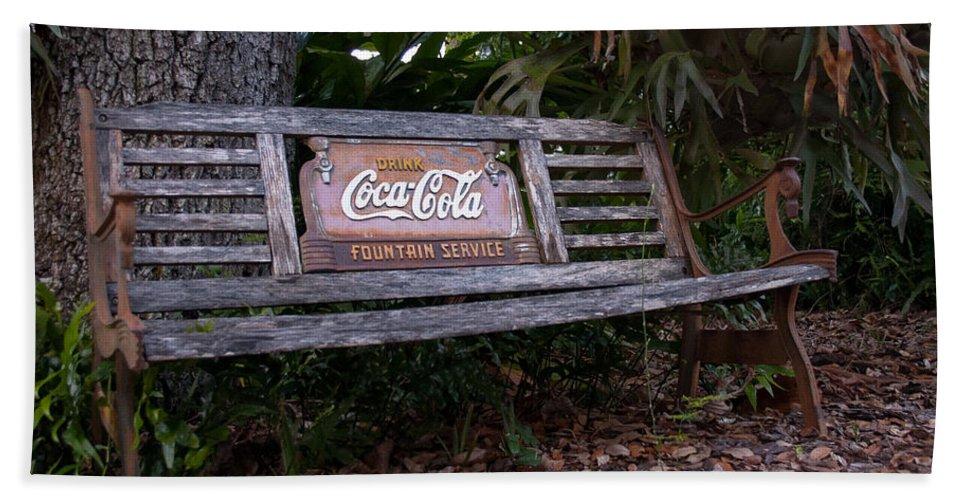 Coca Cola Beach Towel featuring the photograph Coca Cola Bench by Edie Ann Mendenhall