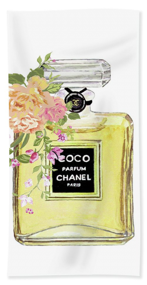 Coco Chanel Perfume Beach Sheet for Sale by Del Art