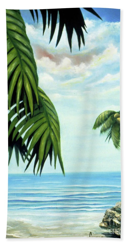 Beverly-fuqua Artwork Beach Towel featuring the painting Coconut Cove by Beverly Fuqua