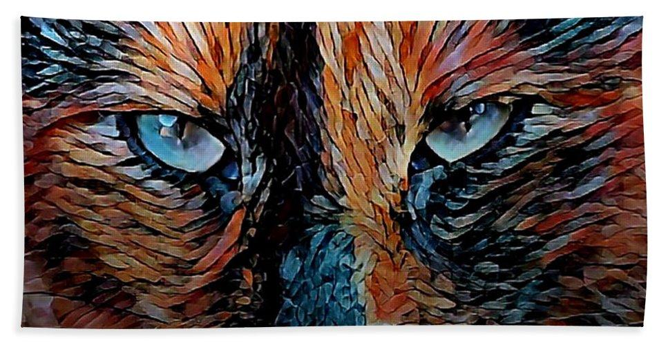 Digital Art Beach Towel featuring the digital art Coconut The Feral Cat by Artful Oasis