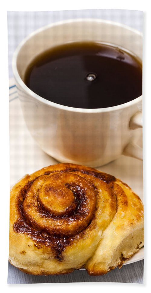 Coffee Beach Towel featuring the photograph Coffee And Breakfast Roll by Donald Erickson