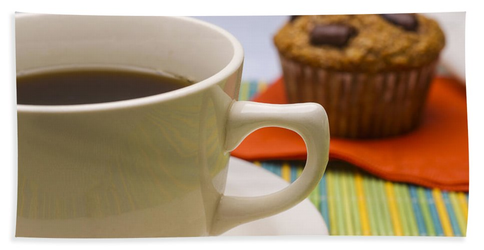 Coffee Beach Towel featuring the photograph Coffee And Chocolate Muffin by Donald Erickson