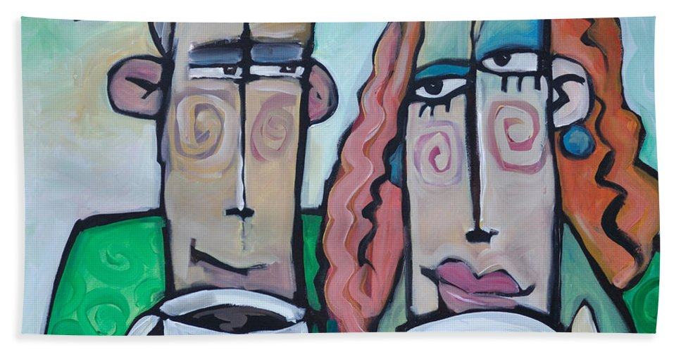 Coffee Beach Towel featuring the painting Coffee Date by Tim Nyberg