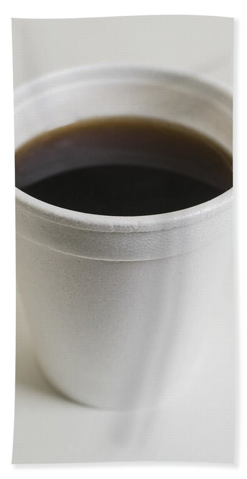 Coffee Beach Towel featuring the photograph Coffee In Throwaway Cup by Donald Erickson