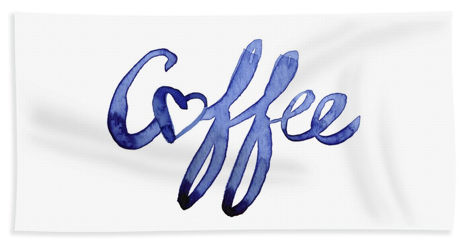 Coffee Beach Towel featuring the painting Coffee Love Typography by Olga Shvartsur