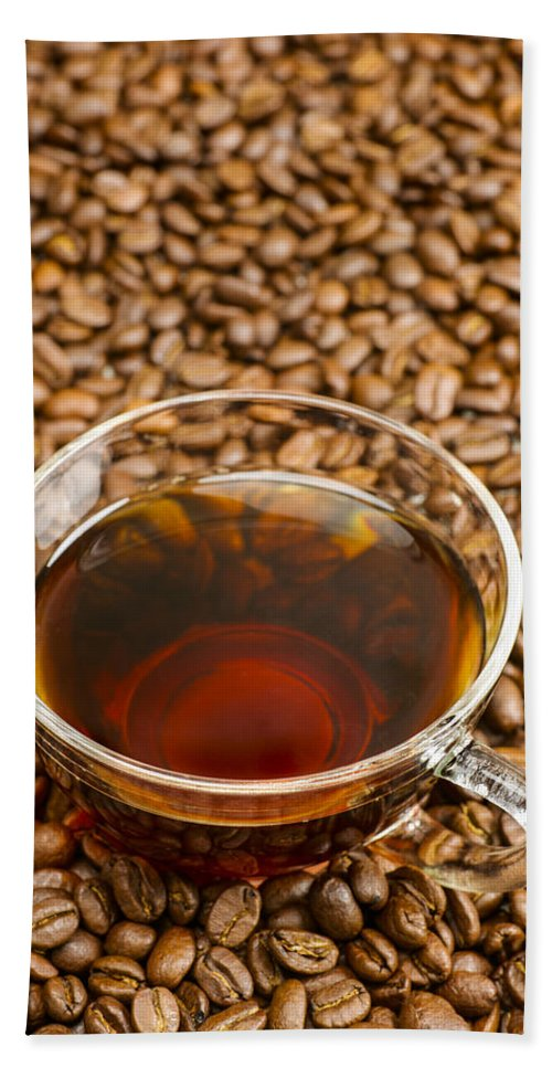 Coffee Beach Towel featuring the photograph Coffee On Roasted Beans by Donald Erickson