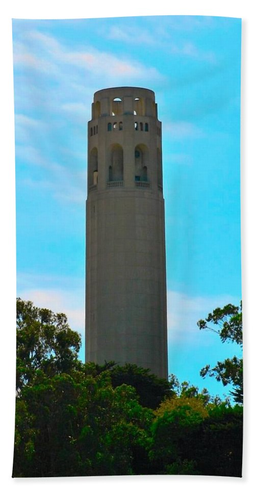 Coit Beach Towel featuring the photograph Coit Tower by Michael Bergman
