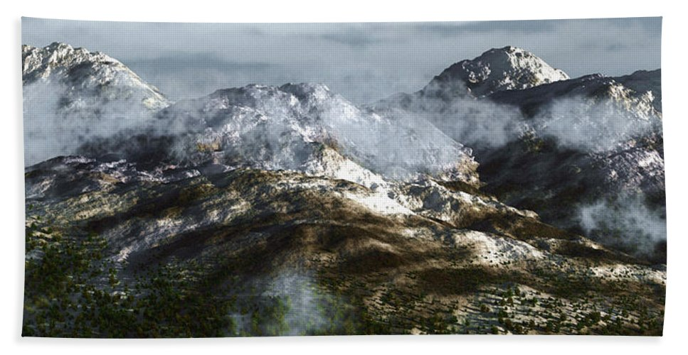 Mountains Beach Towel featuring the digital art Cold Mountain by Richard Rizzo