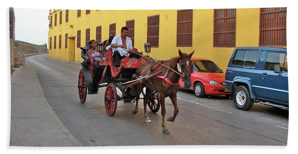 Columbia Beach Towel featuring the photograph Colombia Carriage by Brett Winn