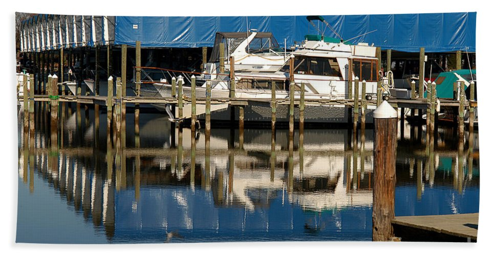Clay Beach Towel featuring the photograph Colonial Beach Marina by Clayton Bruster