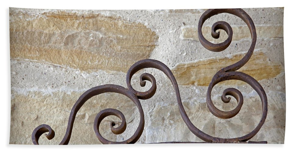 Colonial Beach Towel featuring the photograph Colonial Wrought Iron Gate Detail by John Stephens