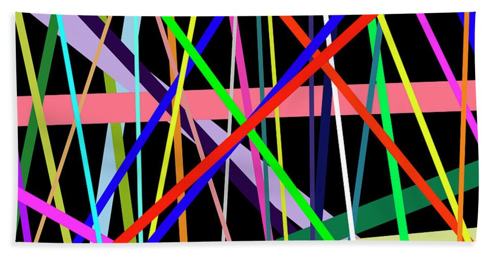 Colorful Beach Towel featuring the digital art Color Lines Variety Background by Lee Serenethos