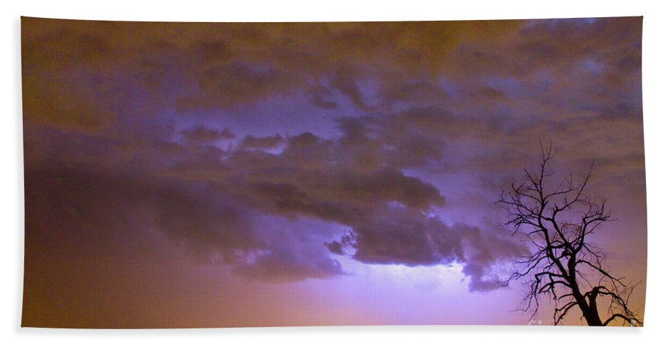 Tree Beach Towel featuring the photograph Colorado Cloud To Cloud Lightning Thunderstorm 27g by James BO Insogna