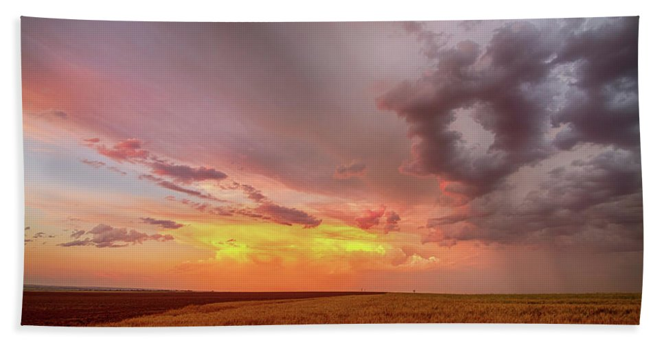 Colorado Beach Towel featuring the photograph Colorado Eastern Plains Sunset Sky by James BO Insogna