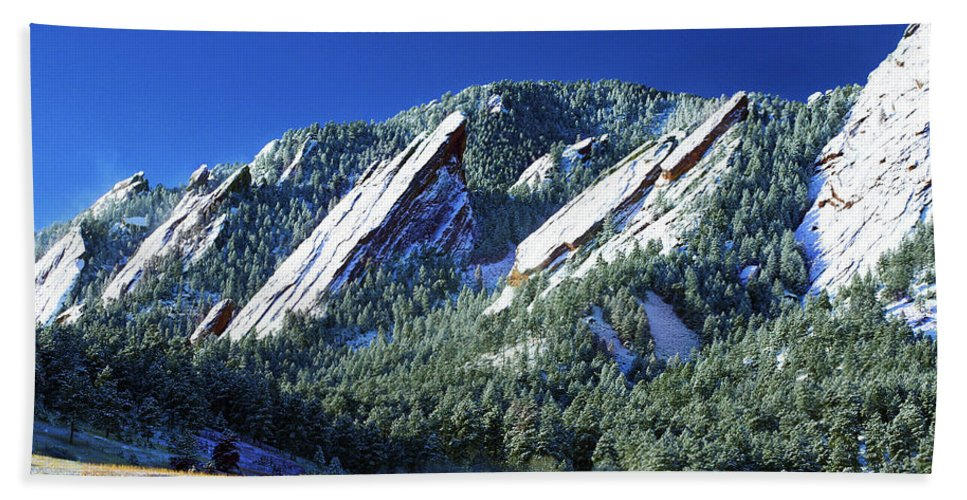 Colorado Beach Towel featuring the photograph All Five Colorado Flatirons by Marilyn Hunt