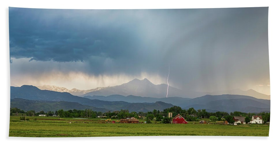 Severe Beach Towel featuring the photograph Colorado Rocky Mountain Red Barn Country Storm by James BO Insogna