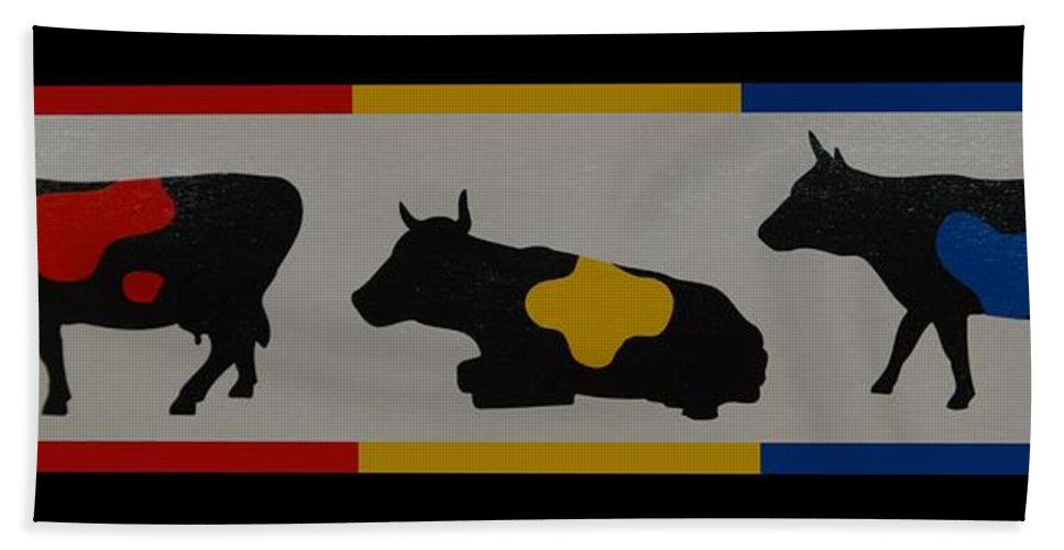 Cows Beach Towel featuring the photograph Colored Cows by Rob Hans