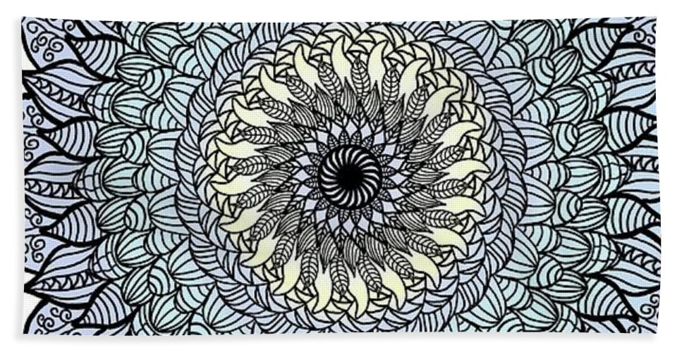 Flower Beach Sheet featuring the mixed media Colored Flower Zentangle by Lisa Stanley