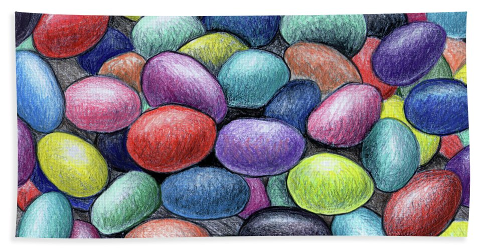 Jelly Beans Beach Towel featuring the drawing Colorful Beans by Nancy Mueller