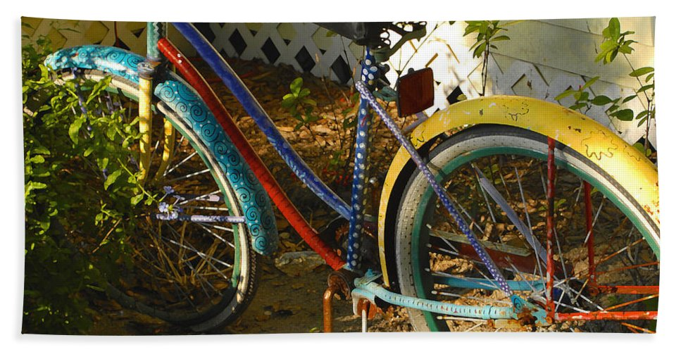 Bicycle Beach Towel featuring the photograph Colorful Bike by David Lee Thompson