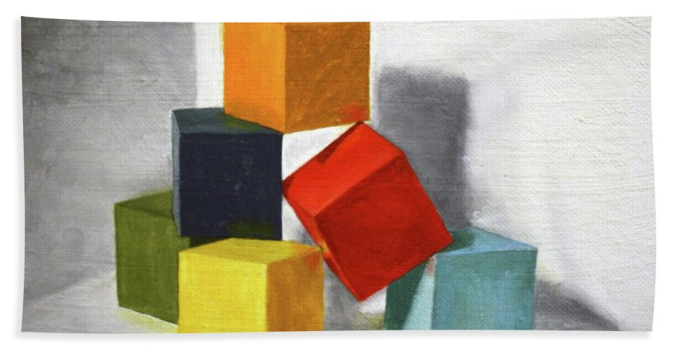Roena King Beach Towel featuring the painting Colorful Blocks by Roena King