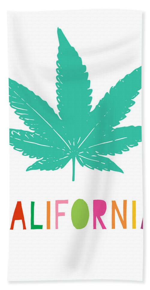 California Beach Towel featuring the mixed media Colorful California Cannabis- Art By Linda Woods by Linda Woods