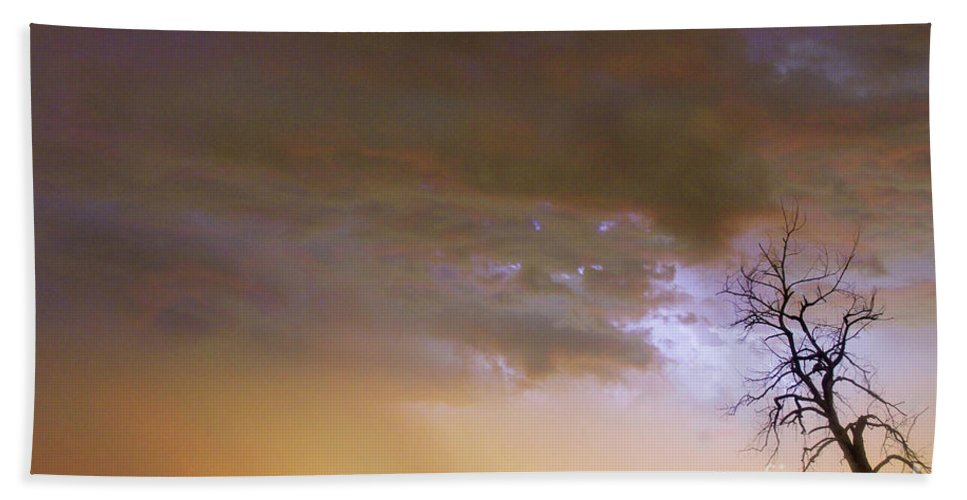 Tree Beach Towel featuring the photograph Colorful Colorado Cloud To Cloud Lightning Striking by James BO Insogna