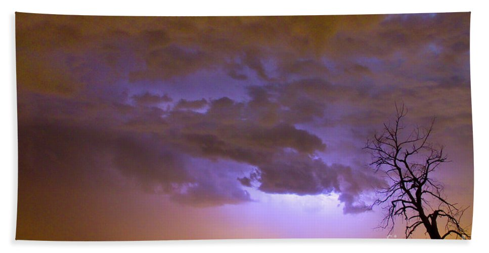 Tree Beach Towel featuring the photograph Colorful Colorado Cloud To Cloud Lightning Thunderstorm 27 by James BO Insogna
